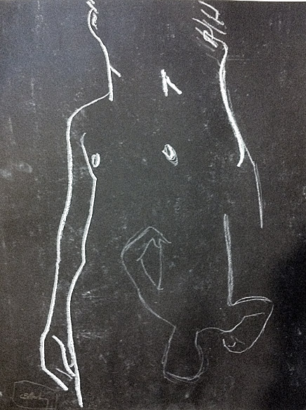male nude, standing (white conté pencil on black paper)