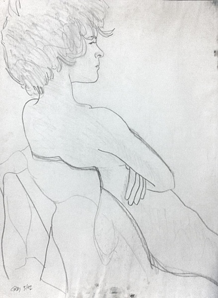 female nude, arms folded
