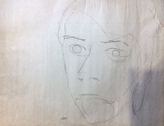 self-portrait, drawn while looking in a mirror, without looking at the page