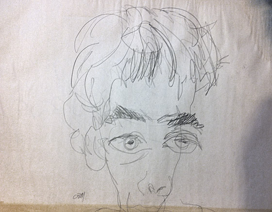 self-portrait, drawn with eyes closed