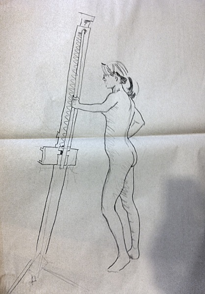 female nude with easel