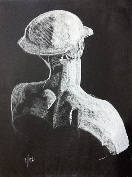 plaster bust (white conté pencil on black Mayfair)