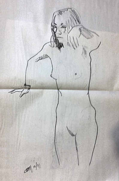 female nude, standing (the next drwaing is on the reverse of this sheet)