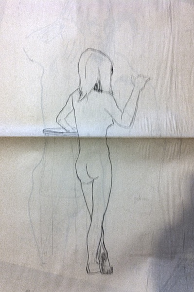 female nude, standing (verso of previous drawing)