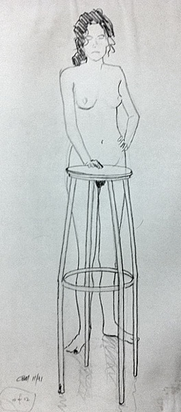 female nude, standing with stool