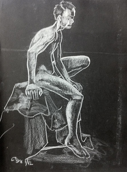 male nude, seated (white conté pencil on black Mayfair)
