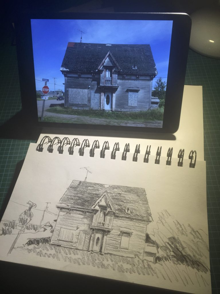 Working from my reference photo on an iPad mini