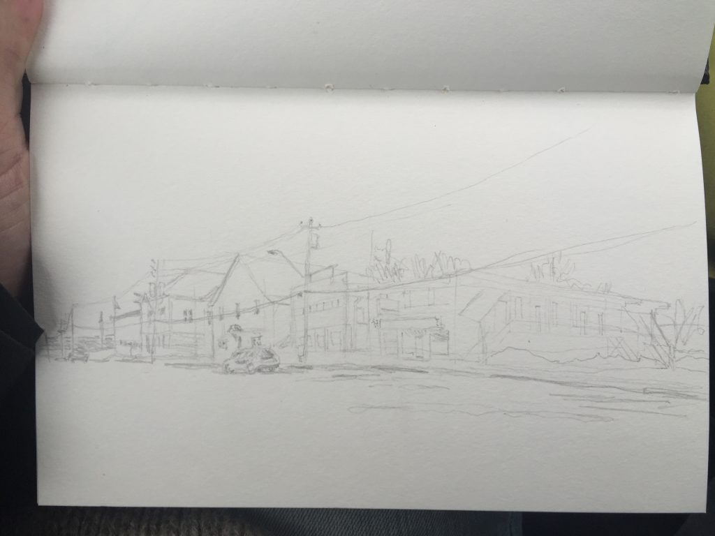 The plein air pencil sketch.