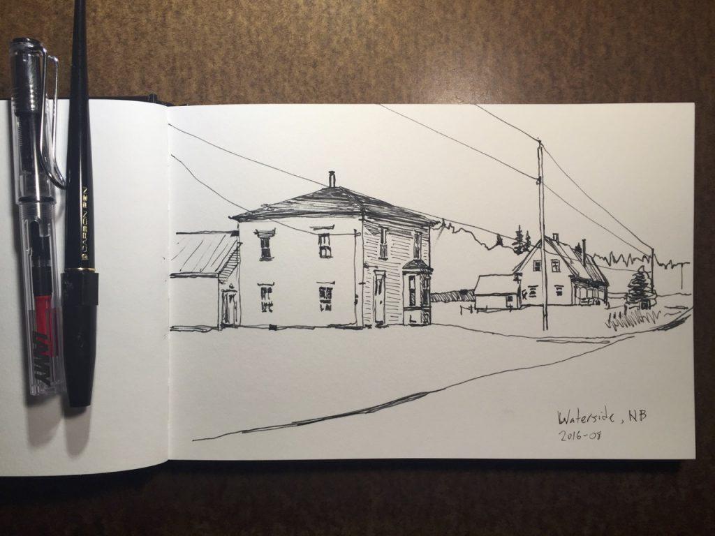 Waterside, NB — pen-and-ink sketch