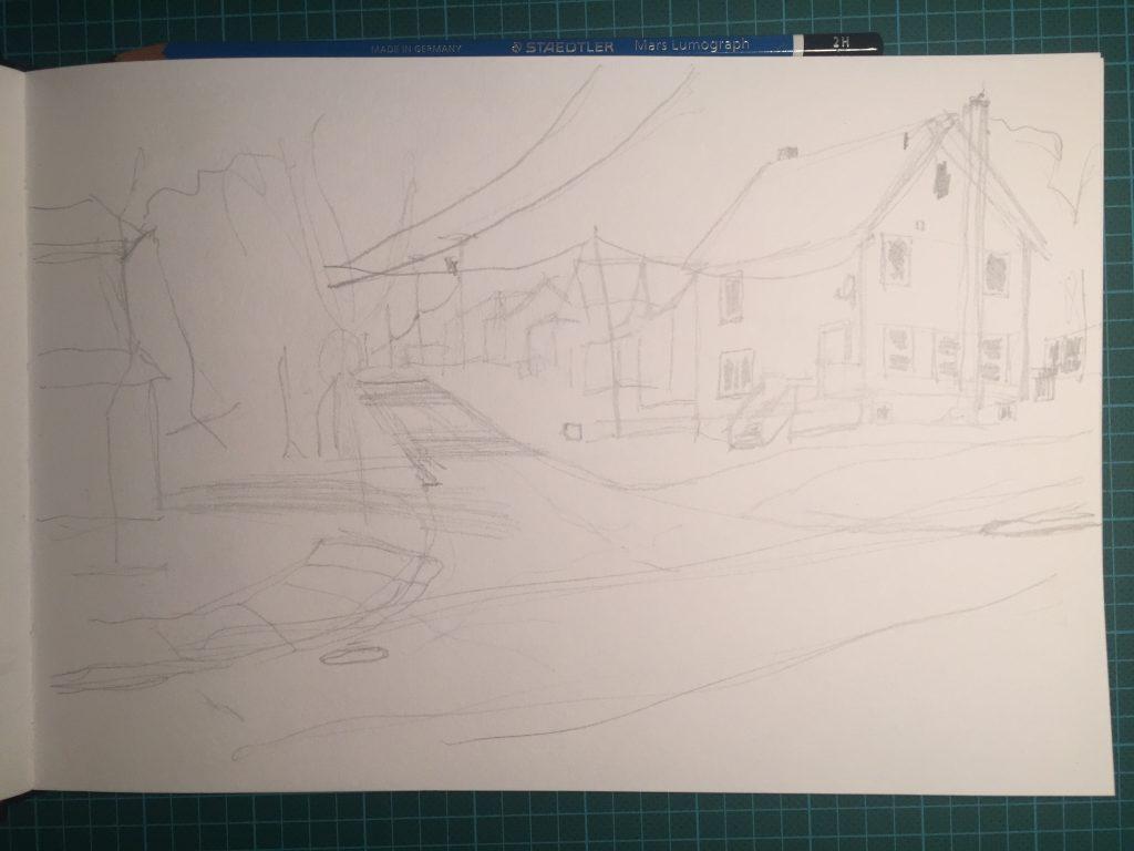 Roughed-in pencil sketch