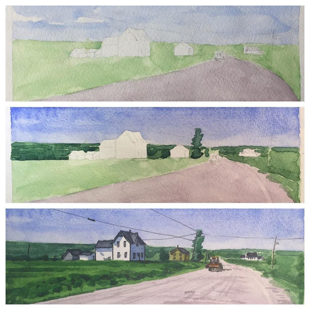 watercolour sketch of houses along highway 935 in Wood Point, outside Sackville