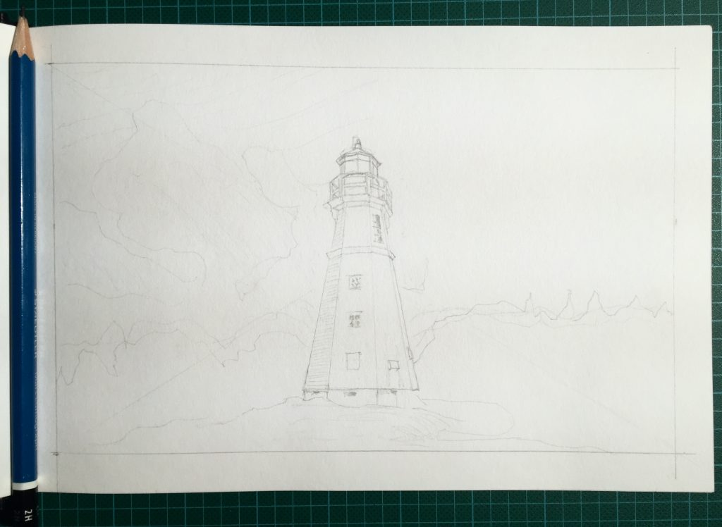 Pencil sketch of the newly-moved lighthouse at Cape Jourimain Nature Centre