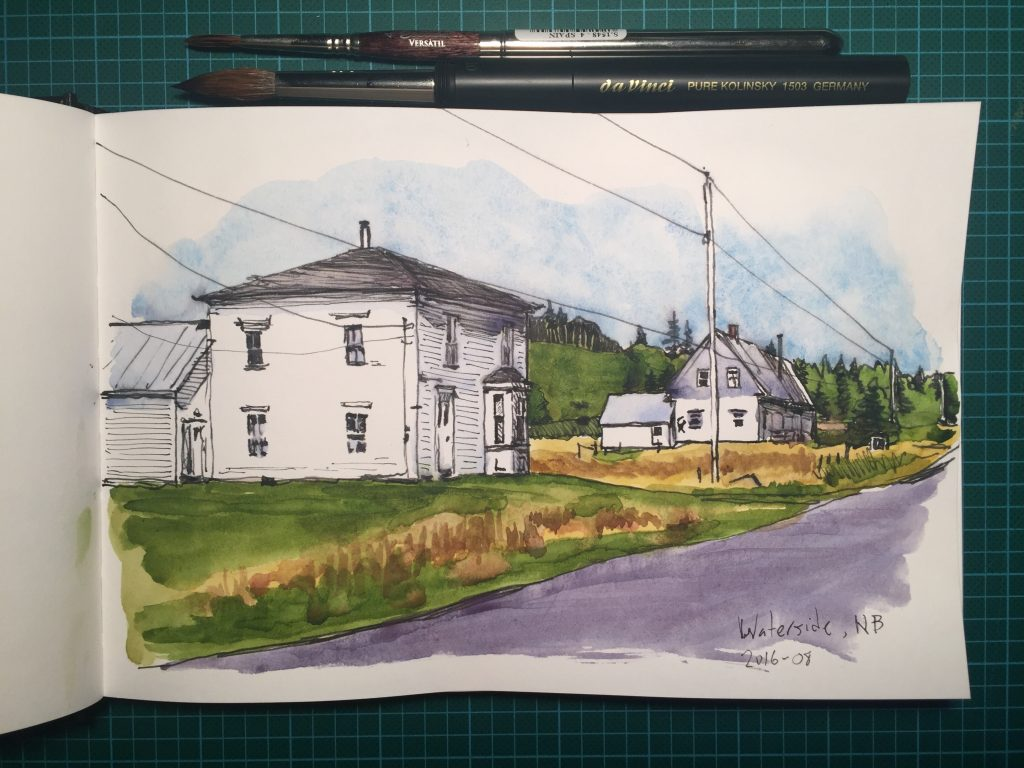 Watercolour sketch of houses in Waterside, New Brunswick