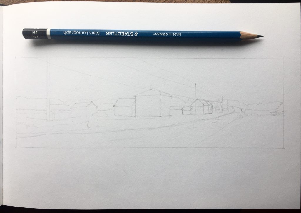 Work in progress: roughed-in pencil sketch