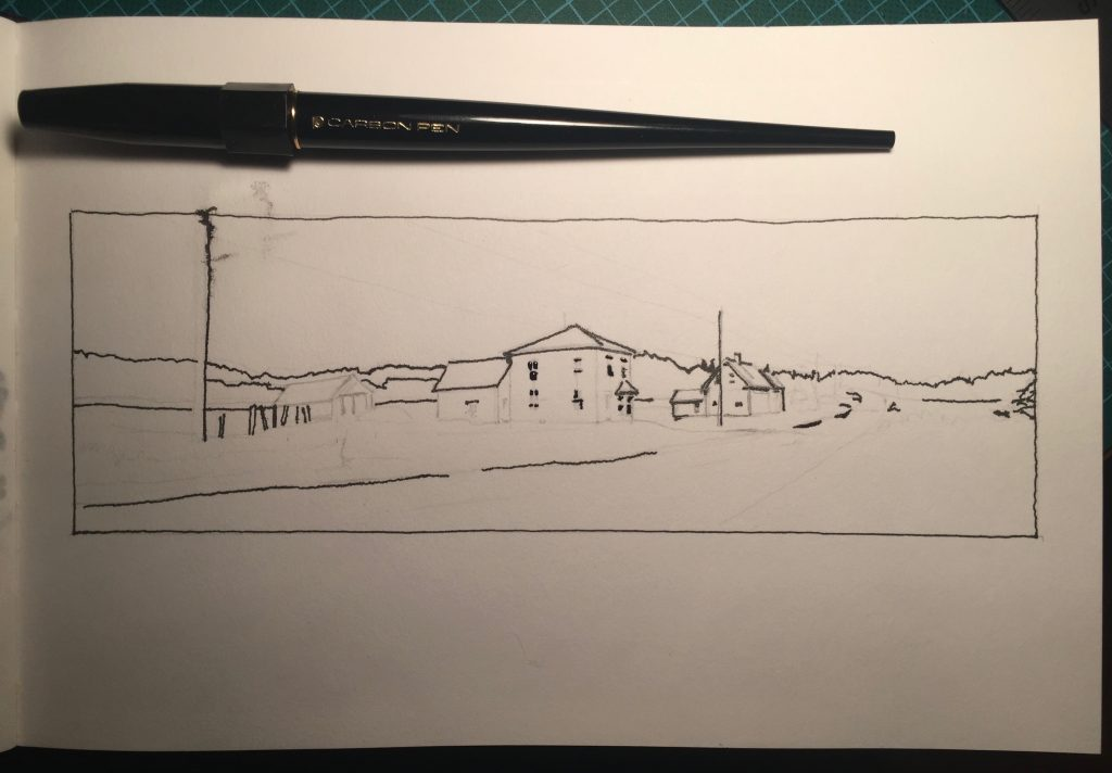 Work in progress: roughed-in pencil sketch with a start on the line work with the Carbon fountain pen.