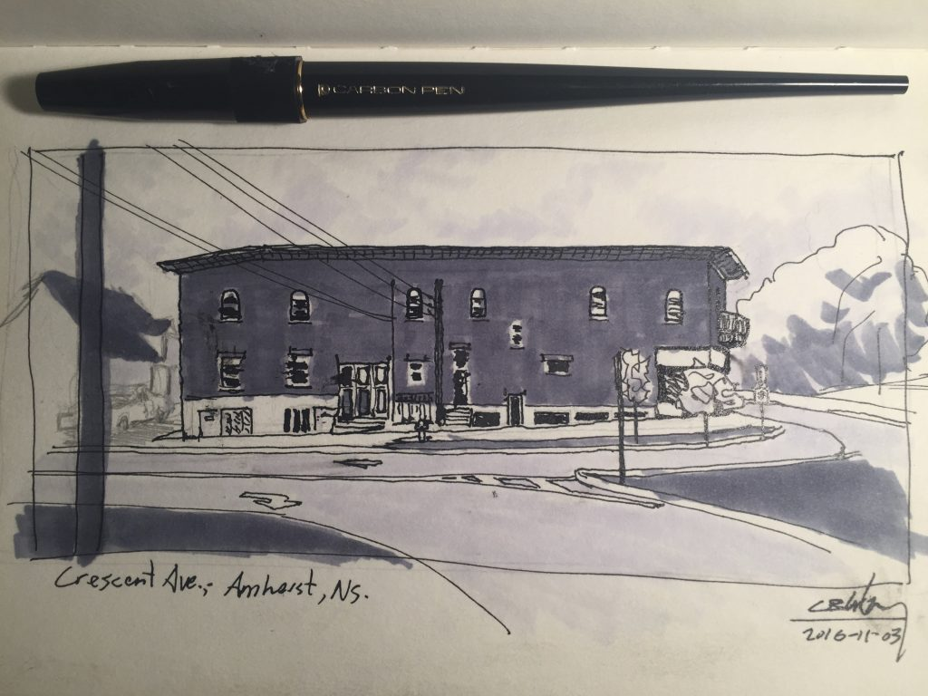 Sketch of apartment block in Amherst, Nova Scotia