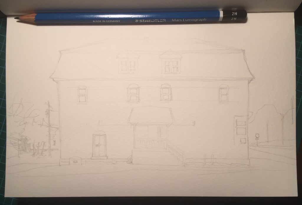 Work in progress: early, roughed-in sketch of The Bicycle Specialist in Amherst, Nova Scotia