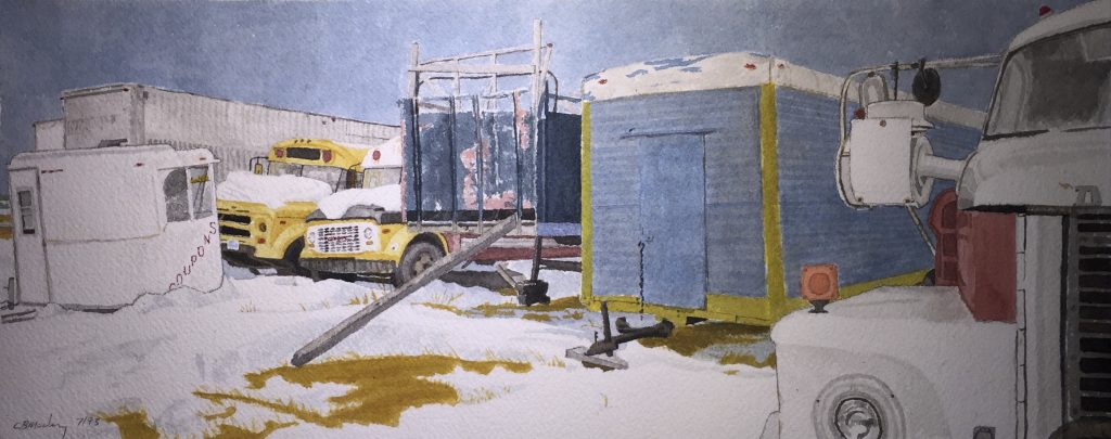 Watercolour of county fair equipment in winter storage on the Tantramar marsh
