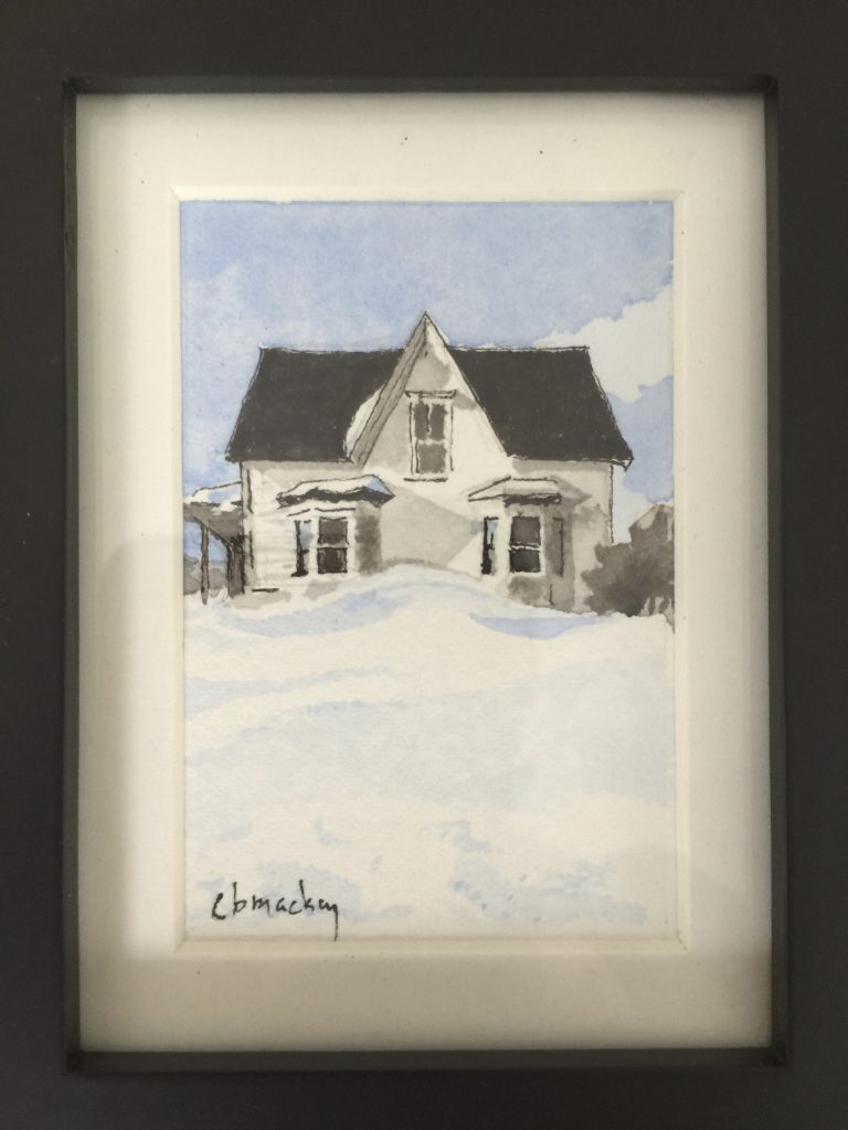 Watercolour of abandoned house between Jolicure and Baie Verte, New Brunswick