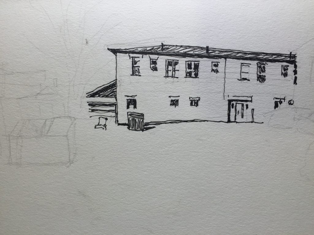 Early ink work on the pencil sketch