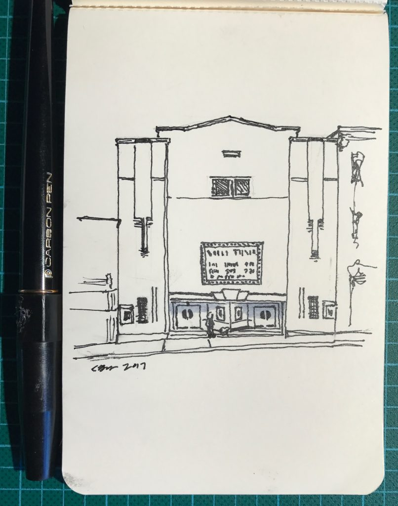Pen-and-ink drawing of The Vogue Cinema