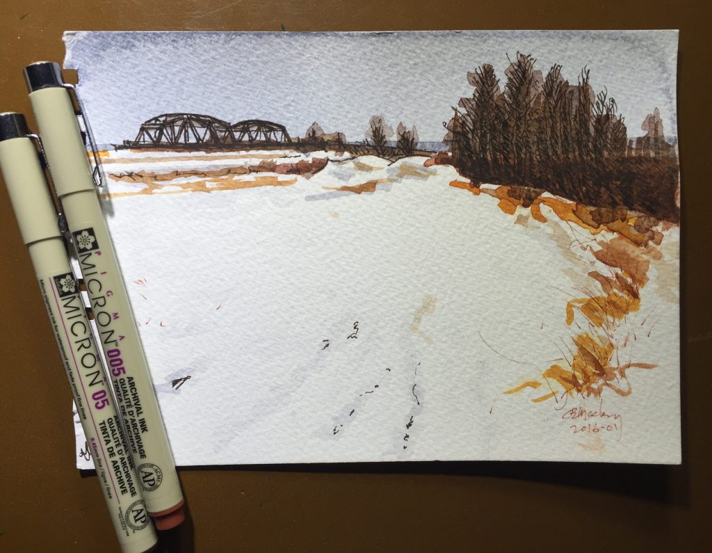 Watercolour of the railway bridge over the CNR main line, Sackville, New Brunswick.
