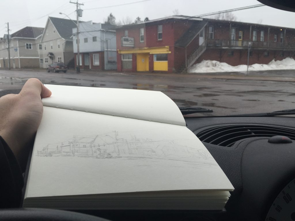 Sketch of Struts Gallery/Lorne Street, Sackville, New Brunswick