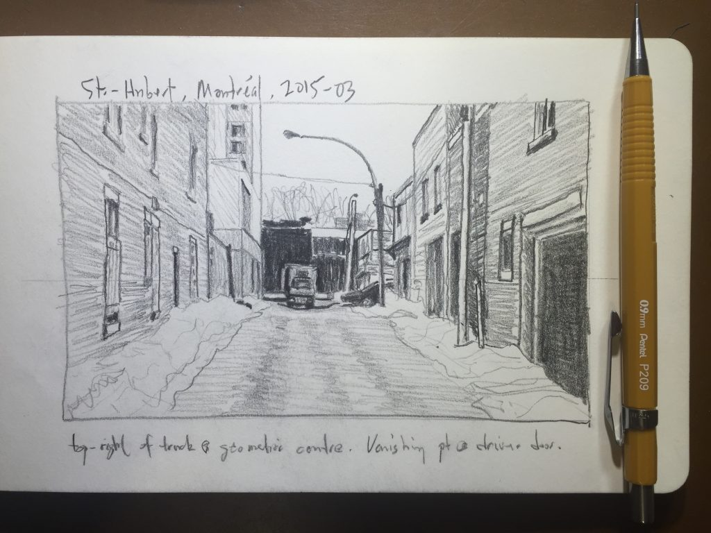 Sketch of an alley in St.-Hubert, Montréal