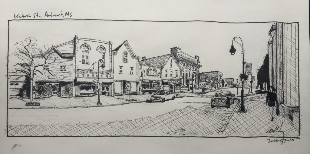 Sketch of downtown Amherst, Nova Scotia