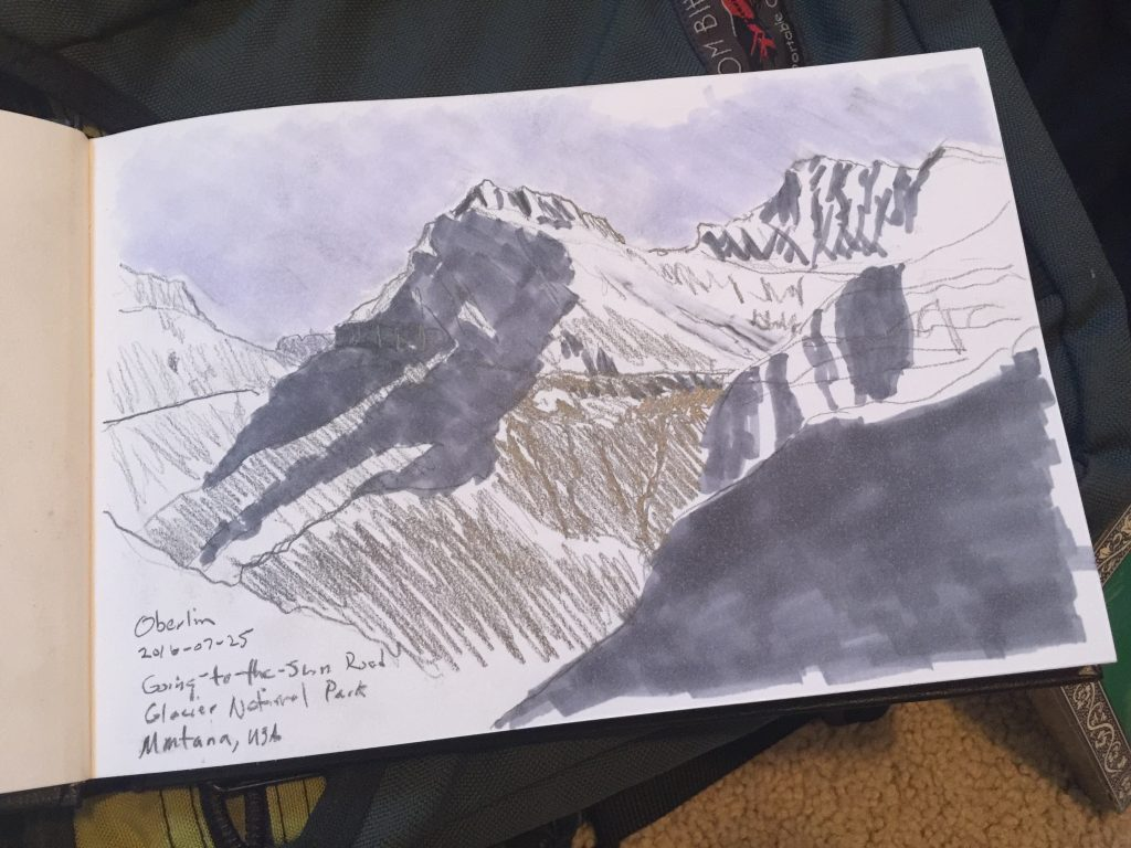 Plein air sketch of Mount Oberlin, Montana