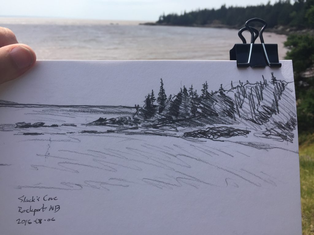 Sketch of Slack's Cove, Rockport, New Brunswick