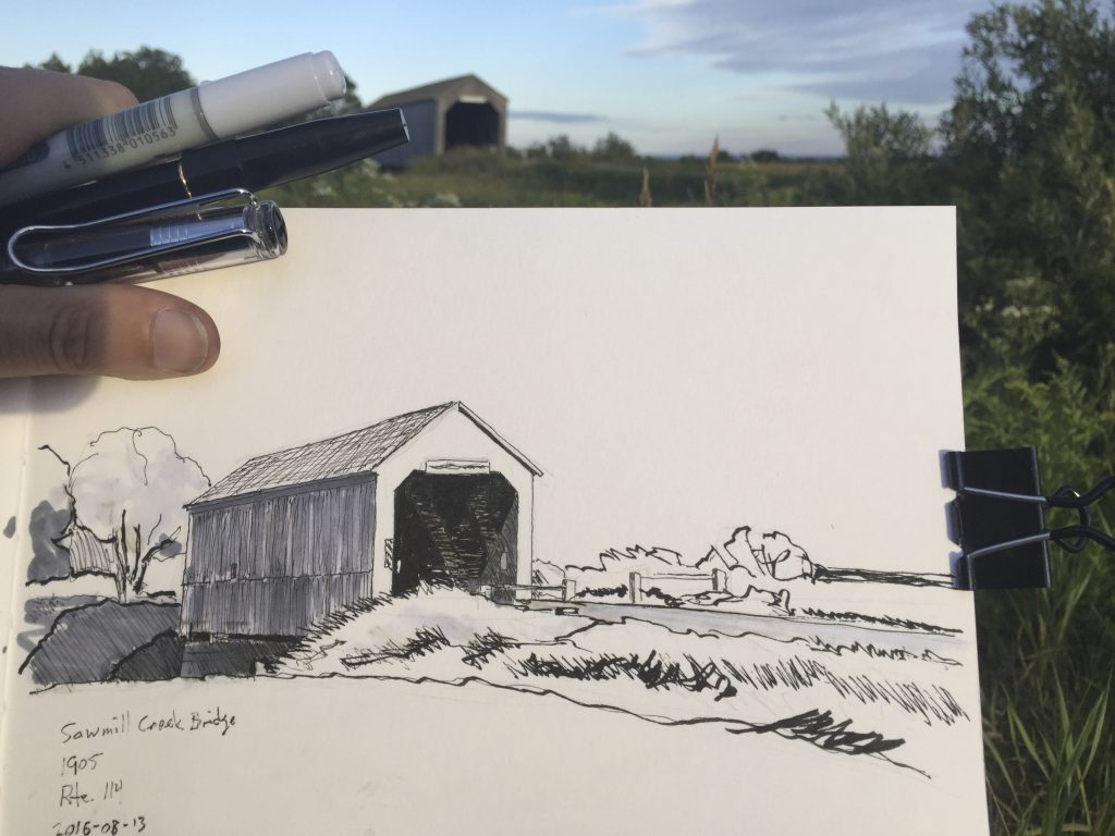 Sketch of Sawmill Creek covered bridge, Hopewell, New Brunswick