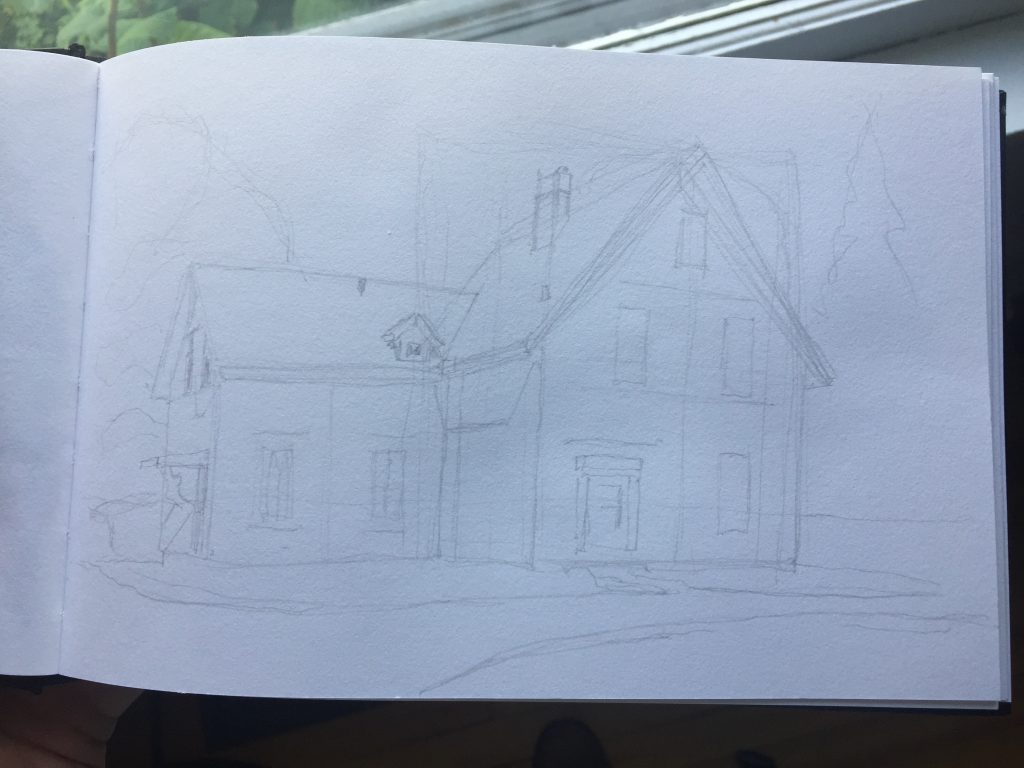 Roughed-in plein air sketch of Colville House