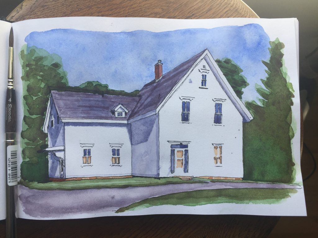 Watercolour sketch of Colville House
