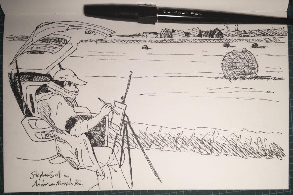 Pen-and-ink sketch of Stephen Scott sketching