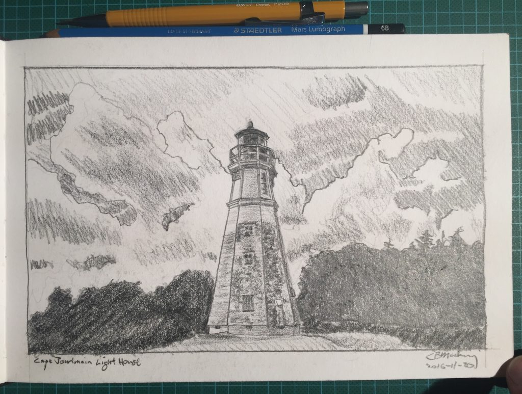 Pencil sketch of the lighthouse at Cape Jourimain Nature Centre