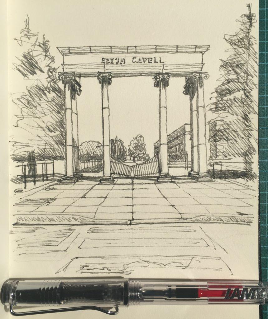Sketch of Edith Cavell School columns