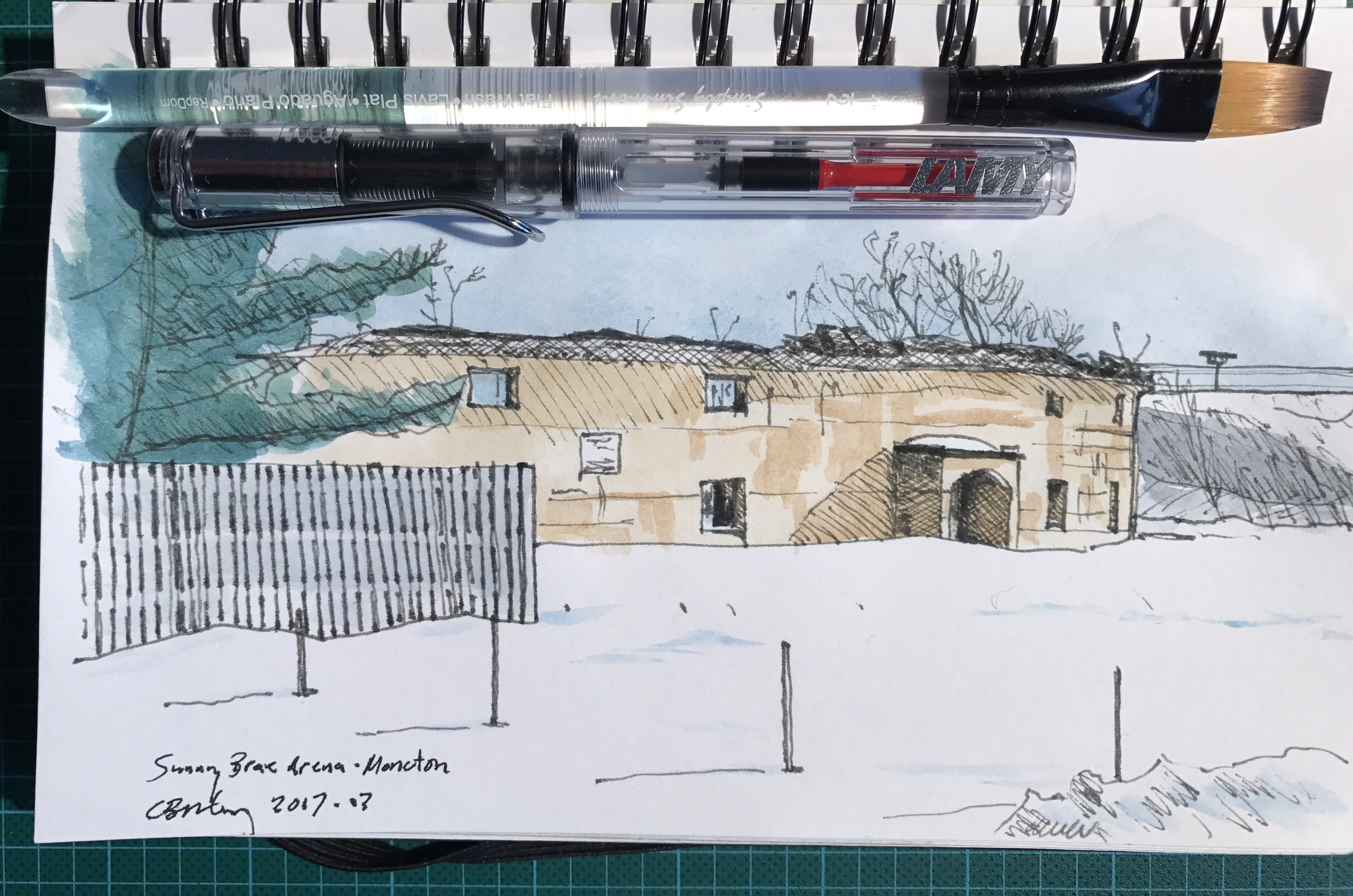 Watercolour sketch of the ruins of the Sunny Brae Arena in Moncton