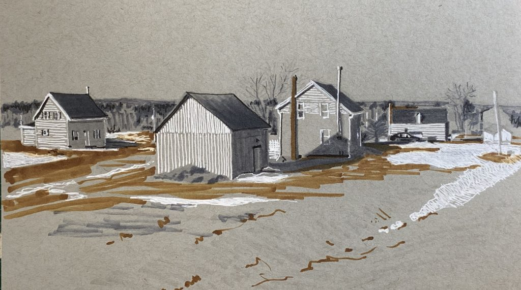 Sketch: Houses and barn in Memramcook