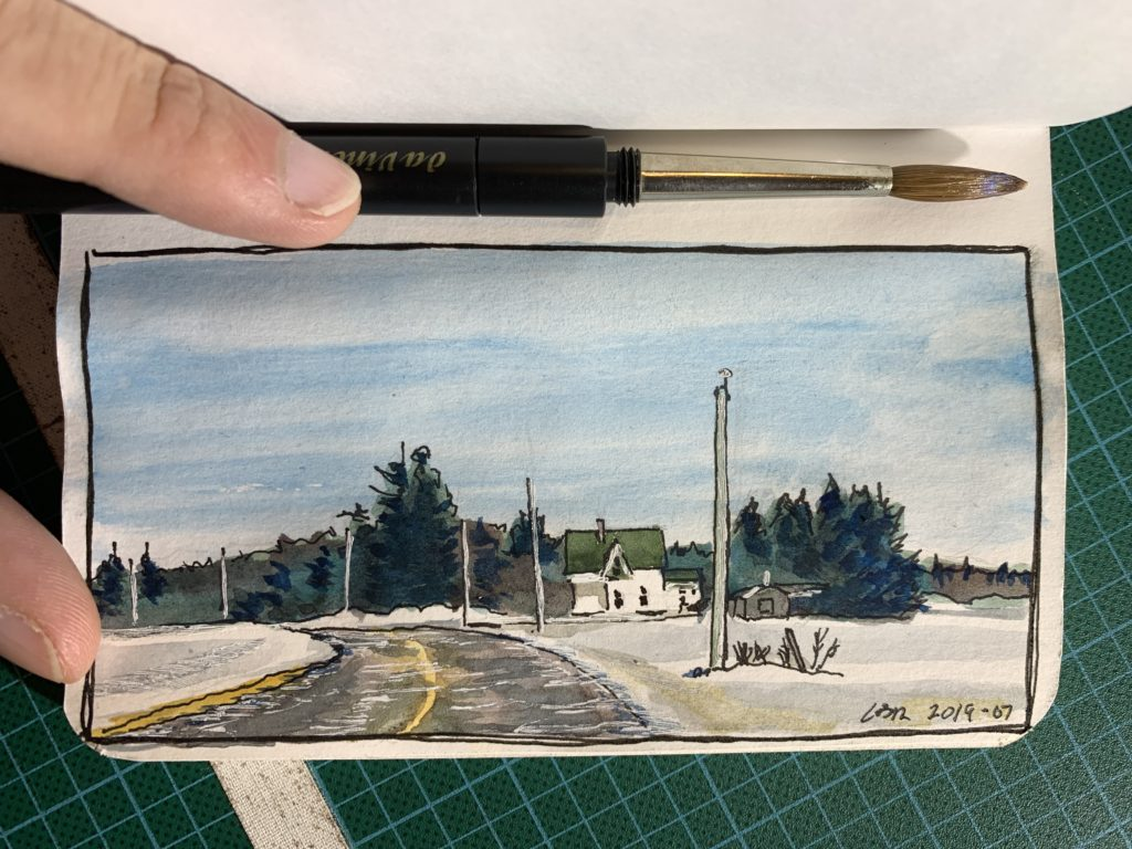 Watercolour sketch of a home near Botsford, New Brunswick, Canada