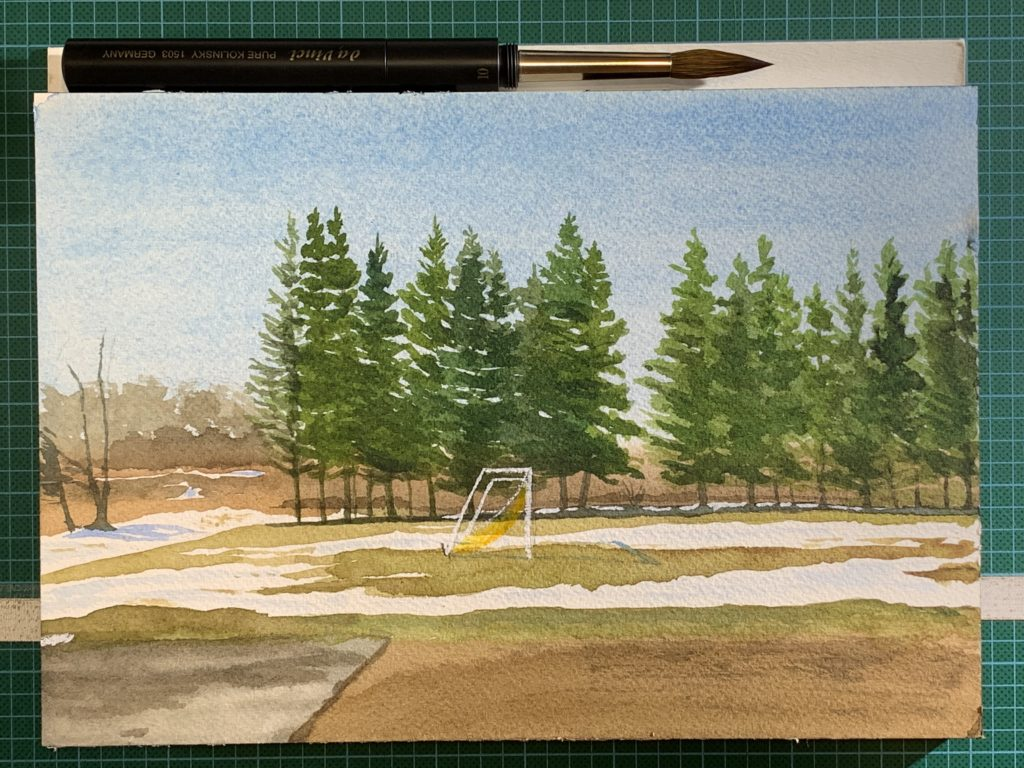 watercolour painting of sports field at Port Elgin Regional School, Port Elgin, New Brunswick
