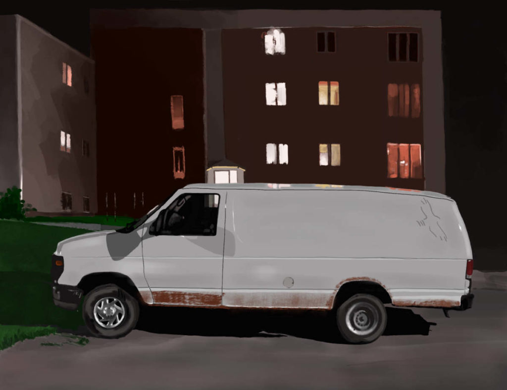 Digital painting of van and apartments