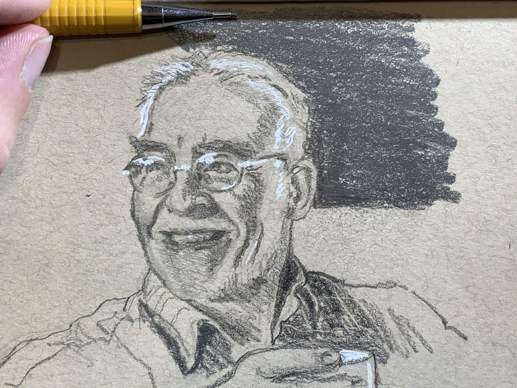 small sketch of man smiling